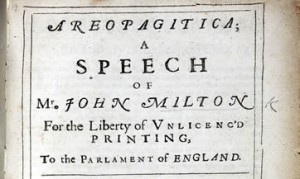 In this pamphlet, Milton argues against the censorship of his day and champions freedom of the press.