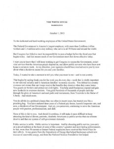 Obama's letter to Federal Employees