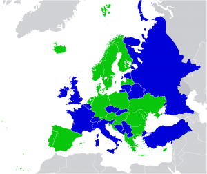 Green = countries in Europe where corporal punishment is illegal at schools and in the home.