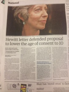 Hewitt Labours Paedophilia in Guardian