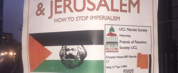 UCL Marxist posters show America controlled by Jewish/Israeli dog